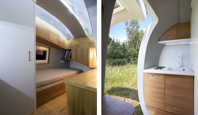 Inside of the off grid pod