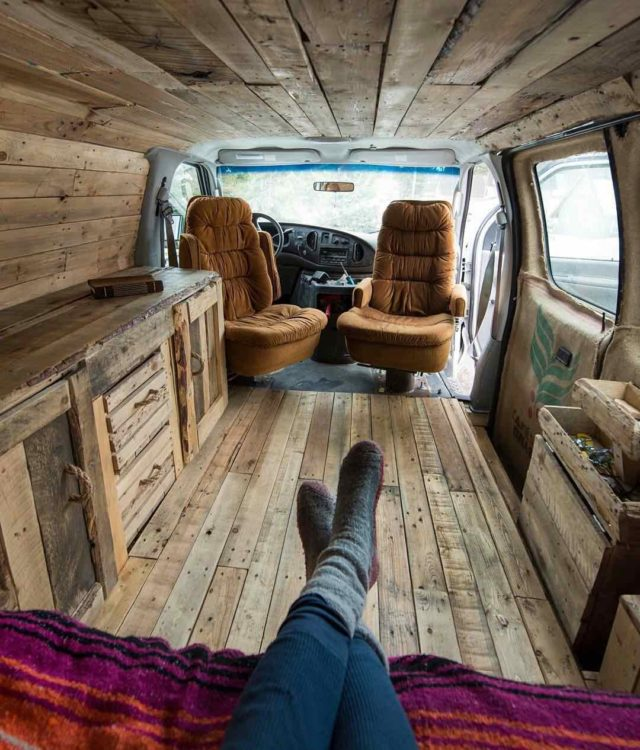 Van tiny home interior