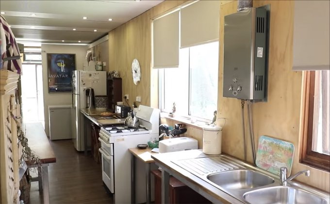 Off grid shipping container home interior