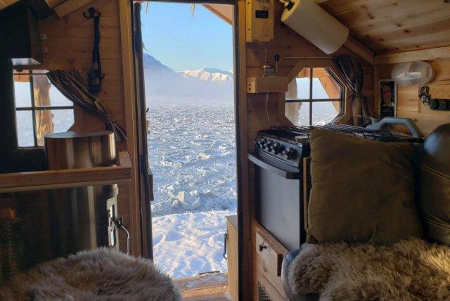 Wood cabin camper interior