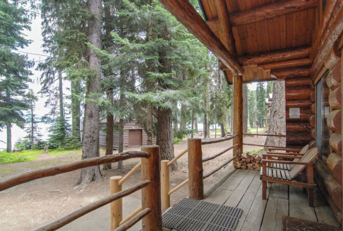 Forest cabin porch
