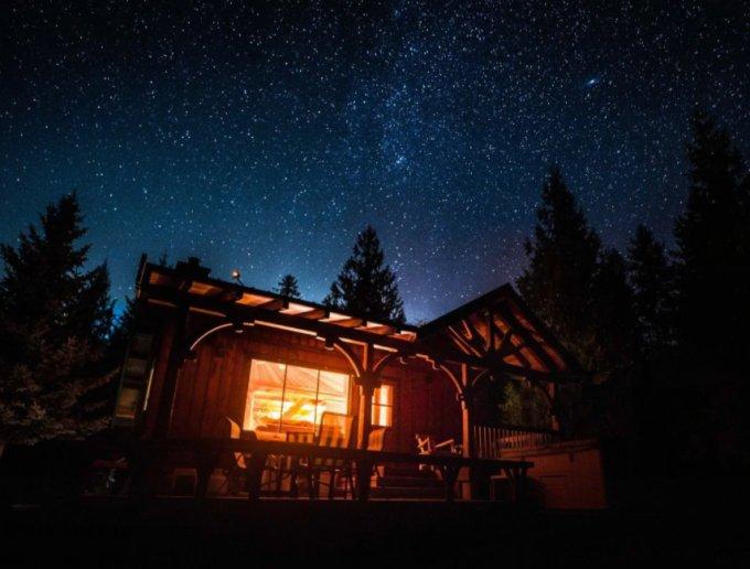Wood cabin at night