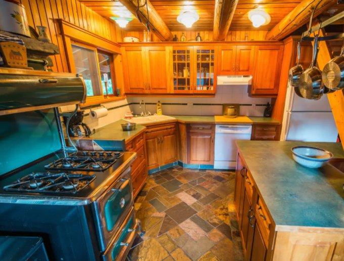 Wood cabin kitchen