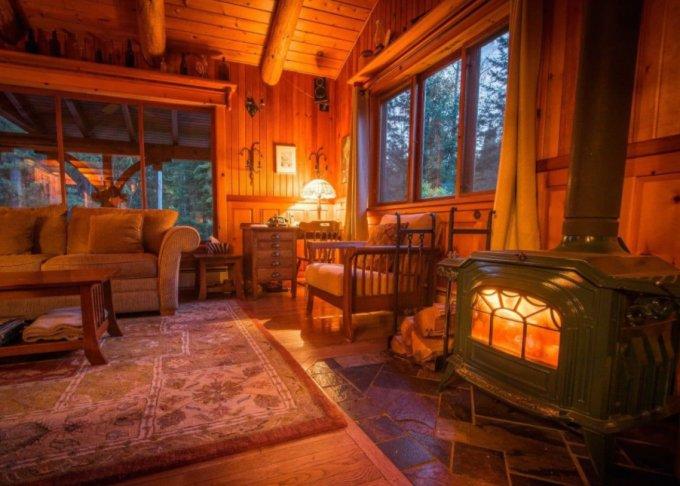 Wood cabin inside