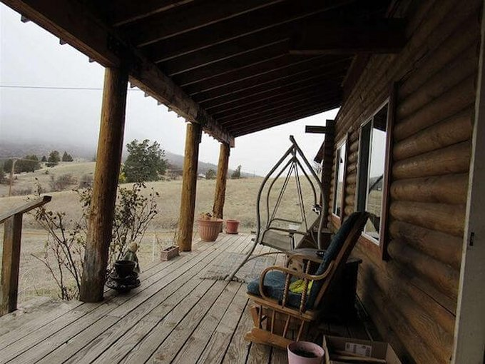 Country log cabin porch